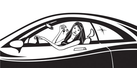 Fashion model with new car keys on the window - vector illustration