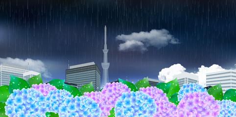 あじさい 梅雨 ビル 背景