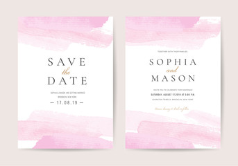 Luxury wedding invitation cards with pink watercolor texture vector design template