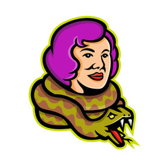 Mascot icon illustration of head of a circus freak snake lady or snake charmer with python, a circus performer or entertainer viewed from side on isolated background in retro style.