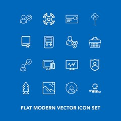 Modern, simple vector icon set on blue background with electric, internet, refresh, scenery, doctor, ventilator, travel, complete, tape, cooler, photo, music, quality, drone, card, fan, forest icons