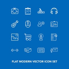 Modern, simple vector icon set on blue background with photo, creative, card, picture, package, film, frame, checklist, credit, handle, idea, scenery, photography, delivery, shop, drawer, buy icons