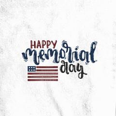 Vector hand drawn illustration. Happy memorial day, flag, America. Idea for postcard.
