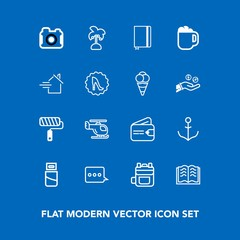 Modern, simple vector icon set on blue background with money, plug, helm, nautical, page, cash, leaf, technology, palm, paint, bag, photography, computer, ship, book, purse, rucksack, roll, air icons
