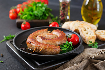 Homemade sausage barbecue. Picnic menu. Festive food
