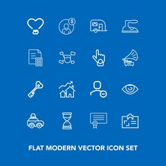 Modern, simple vector icon set on blue background with body, traffic, car, user, human, account, love, identity, security, card, luggage, accounting, property, time, suitcase, template, finance icons