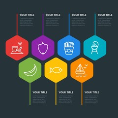 Flat geometric food, drinks, travel infographic steps template with 7 options for presentations, advertising, annual reports