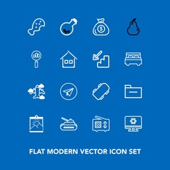 Modern, simple vector icon set on blue background with fast, communication, message, flight, meal, skater, extreme, equipment, antenna, blank, email, gun, panzer, document, aircraft, board, tank icons