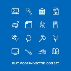 Modern, simple vector icon set on blue background with transport, map, airplane, flight, location, spaceship, bell, hook, monitor, medal, truck, axe, fish, construction, travel, ring, video, rod icons