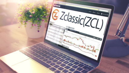 The Dynamics of Cost of ZCLASSIC onLaptop Screen. Cryptocurrency