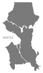 Seattle Washington city map grey illustration silhouette shape