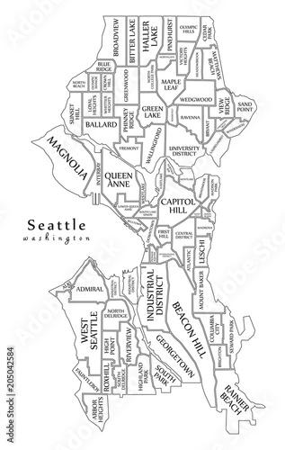 Modern City Map - Seattle Washington city of the USA with ...