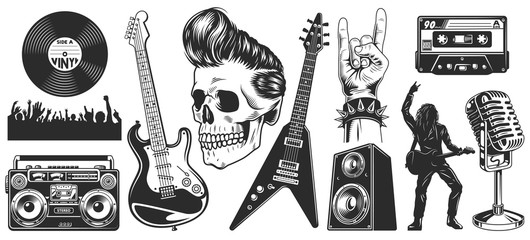 Set of rock and roll music emblems Fotobehang