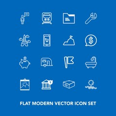 Modern, simple vector icon set on blue background with blank, paper, frame, business, chat, interior, person, tool, modern, railway, picture, flag, finance, bank, investment, office, drawer, van icons