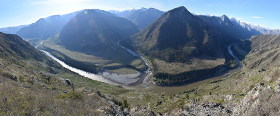 A panorama of mountain rivers merging viewed from high above