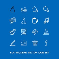 Modern, simple vector icon set on blue background with document, glasses, route, cartoon, travel, property, write, step, happy, organic, railway, fruit, up, fresh, sea, name, success, military icons