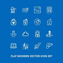 Modern, simple vector icon set on blue background with bbq, card, growth, landscape, computer, nature, rocket, sound, game, photography, credit, pistol, grill, job, money, screen, anchor, music icons