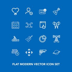 Modern, simple vector icon set on blue background with marine, string, coin, bag, undersea, instrument, graph, user, space, planet, gun, white, station, delete, firearm, arrow, boat, account icons
