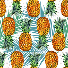 watercolor pineapple illustration seamless pattern with palm leaf. Tropical background