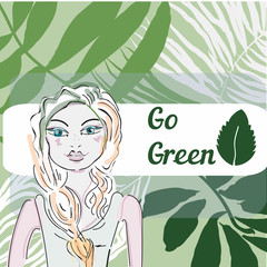 green world in dream of pretty girl- grass background, vector illustration