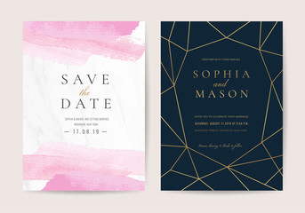 Wall Mural - Luxury wedding invitation cards with pink watercolor texture vector design template