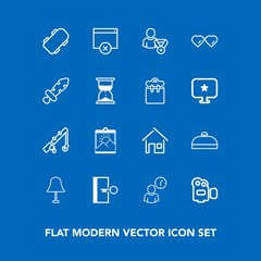 Modern, simple vector icon set on blue background with sign, board, home, building, equipment, clock, hour, luggage, reel, business, house, rod, film, lamp, light, estate, fishing, photo, trip icons