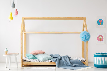 Handmade bed in kid's bedroom