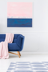Pastel pink living room interior