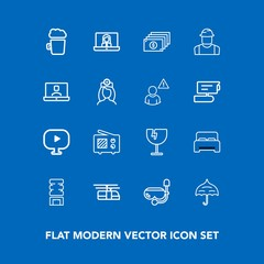 Modern, simple vector icon set on blue background with umbrella, cold, finance, window, communication, furniture, alcohol, wireless, sky, bed, cooler, destruction, call, drink, snorkel, pub, bar icons