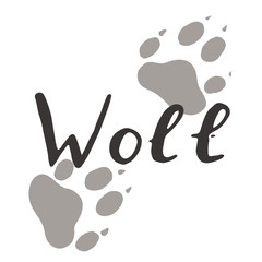 The paw print of a wolf. Grey trail. Wildlife. Vintage vector illustration. Calligraphy handwritten text.