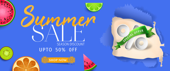 Summer sale banner background vector. Top view summer background vector in beach with umbrellas, balls, swim ring, sunglasses, surfboard, hat, sandals, juice, starfish and sea.