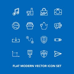 Modern, simple vector icon set on blue background with white, travel, object, message, security, camera, operator, protection, wine, handle, military, download, sign, leather, video, shield, gun icons