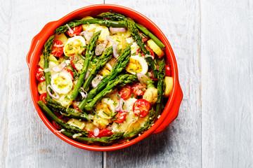 Spargel Gemüse Pfanne mit Käse überbacken