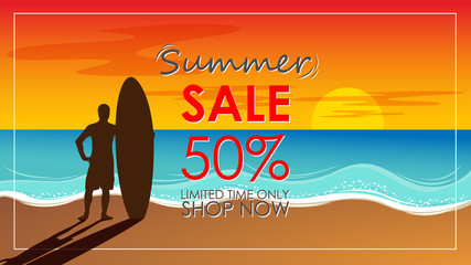 Silhouette of surf man stand with a surfboard with text summer sale for mall or store promotion and marketing. Surfing at sunset beach. Outdoor water sport adventure lifestyle.Summer activity.
