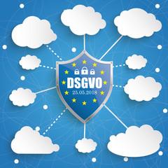 DSGVO Infografik mit Schutzschild und Wolken auf einem blauen Hintergrund