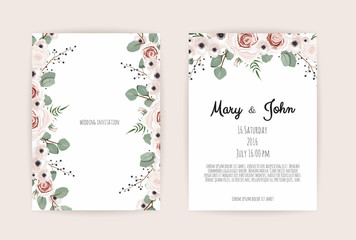 Floral Wedding Invitation. Botanical card vector Design garden pink, peach Rose flower, anemones ,green Eucalyptus, tender greenery
