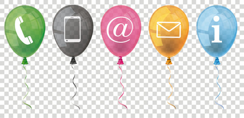 Colored Balloons Contact Icons Banner Transparent