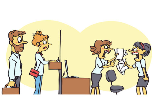 Funny vector cartoon of two office clerks arguing in front of the clients, unprofessional behavior at work