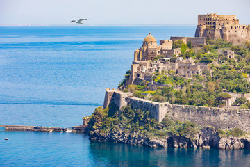 Aragonese Castle is most visited landmark near Ischia island, Italy
