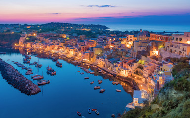 Beautiful sunset in Procida island, Italy