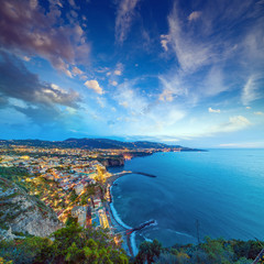 Aerial sunset view of coastline Sorrento and Gulf of Naples, Italy