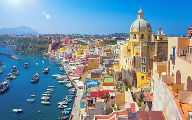 Foto op Plexiglas Napels Beautiful colorful Procida island, Italy