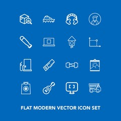 Modern, simple vector icon set on blue background with vehicle, photo, dumper, frame, statistic, exercise, sport, retail, internet, gym, gift, transport, white, sea, music, workout, truck, saw icons