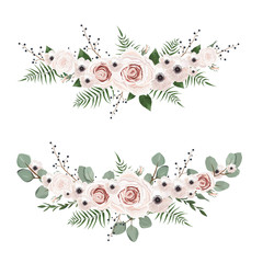 Vector flowers set. Colorful floral collection with leaves and flowers.