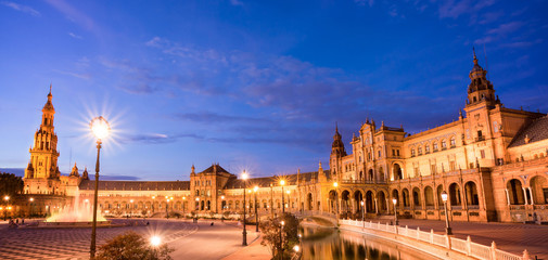 Plaza de Espana (Spain square) at night in Seville, Andalusia