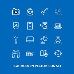 Modern, simple vector icon set on blue background with military, food, style, sea, quad, pc, photo, bag, atv, dirt, white, computer, interior, wheel, gun, extreme, office, business, guitar, lamp icons