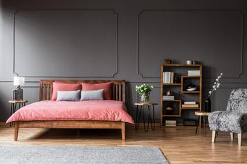 Elegant grey bedroom interior
