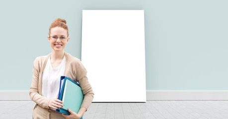 Blank white card with teacher