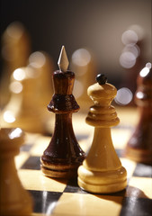 Chess. Queen and King on a chessboard.