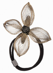 Hair accessories for lady the rubber band and hair clip golden flower decoration.